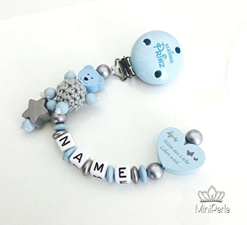Schnullerkette mit Namen - Bär mit Häkelperle - Wenn aus Liebe Leben wird... - Kleiner Prinz -Junge - silber - grau- blau - C012