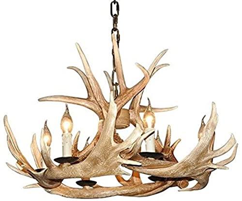Lámpara de asta de cuerno de ciervo de resina rústica 6lights (bombillas no incluidas)