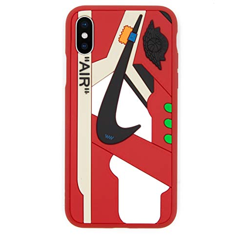 iPhone Shoe Case, of Chicago/White 1's Official 3D Print Textured Shock Absorbing Protective Sneaker Fashion Case (Red, iPhone Xs Max)