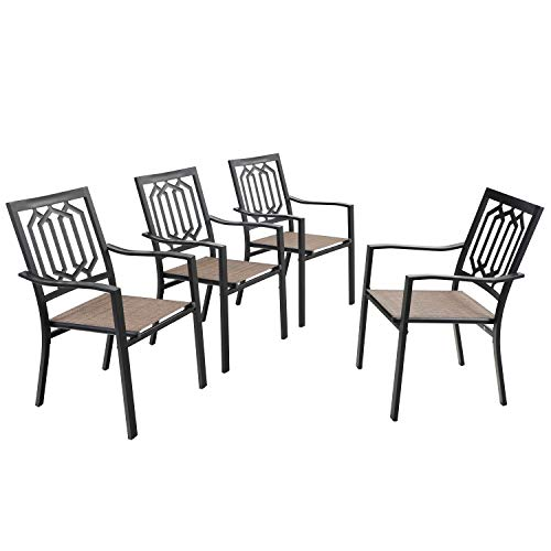 PHI VILLA Metal Patio Outdoor Dining Sling Mesh Chairs Set of 4,Bistro Deck Chairs for Garden Lawn Backyard Support 300LB, Brown…