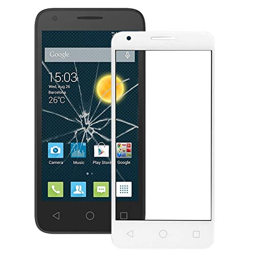 PENGCHUAN Partes de reparación de teléfonos móviles For Alcatel One Touch Pixi 3 4.5/4027 Pantalla Frontal Lente de Cristal Exterior (Color : Blanco)