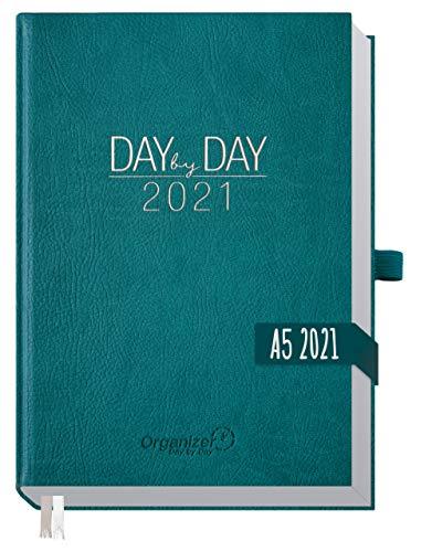 Chäff Organizer Day by Day 2021 A5 [Petrol] 1 Tag pro Seite | Hardcover Kalender 2021, Tagesplaner, Terminkalender, Terminplaner, Tageskalender | nachhaltig & klimaneutral