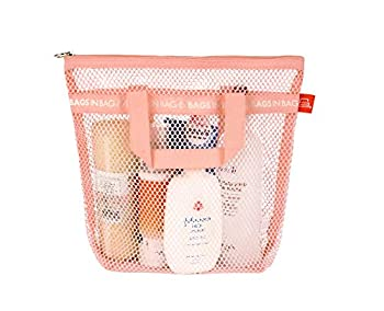 Bags in bag Portable shower Mesh Caddy bag Quick Dry Hanging Toiletry and Bath Organizer for travel and swimming  Pink