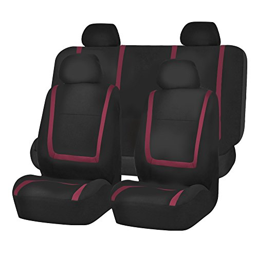 FH Group FB032BURGUNDY114 Burgundy Unique Flat Cloth Car Seat Cover (w. 4 Detachable Headrests and Solid Bench)