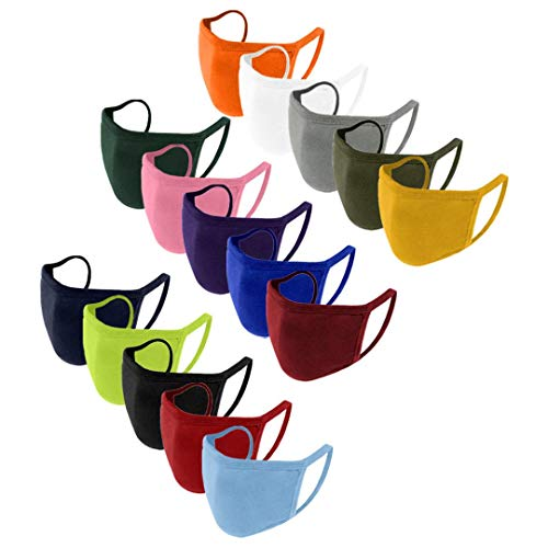 15PCS Cotton Face_Mask for Kids,Solid Color Washable Reusable Face Mouth Protection,Dust Haze Breathable Face Bandanas for Boys&Girls (Multicolor)