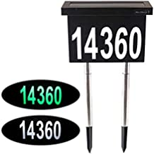 Dual-use Solar House Numbers Light - 2 Lighting Modes Black Stainless Steel Address Sign for House or Yard - 12 LED Light up House Numbers at Night - Waterproof Metal Plaque Stake Outdoor Lights