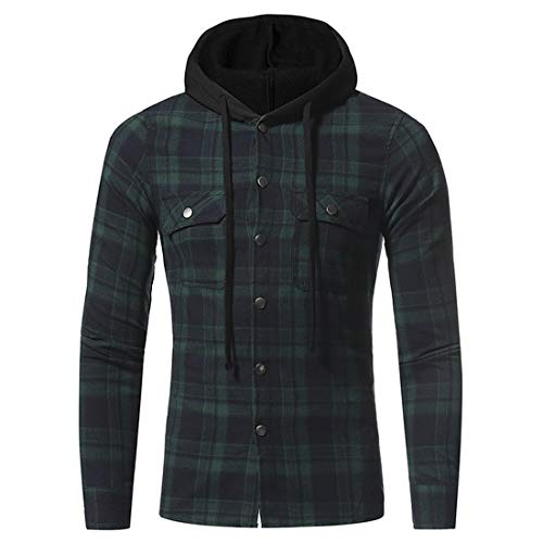 Men's Hooded Shirt Plaid Long Sleeve Shirts Hoodie Casual Button V-Neck Hooded Jacket Spring Classic All-Match Hoodies Tops 3XL