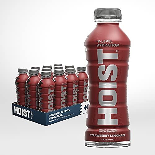 HOIST Premium Hydration Electrolyte Drink, Powerful IV-Level Hydration, Strawberry Lemonade, 16 Fl Oz (Pack of 12)