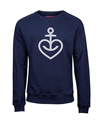 ASTRA Herren Sweatshirt Herzanker, Größe M, Herren-Pullover in Navy, Bier zum Anziehen, Langarmshirt aus St. Pauli, Geschenk-Idee für Männer (L)