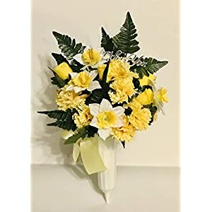 Silk Artificial Cemetery Flowers For Outdoor Grave Decoration Daffodil Carnation And Yellow Roses
