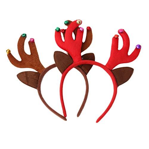 ABOOFAN - Diadema navideña con cuernos de Papá Noel, con campanas, cuernos en 3D, diadema para fiesta de Navidad, para niños, niñas, mujeres, hombres, niños, accesorios para fiestas, 2 piezas