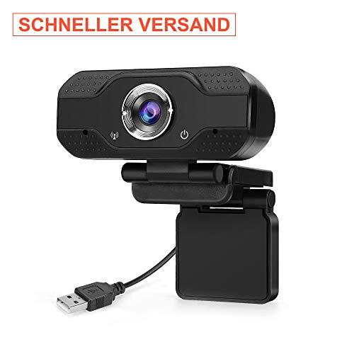 Ouvis 1080P Webcam mit Mikrofon, Full HD Video Web Camera für Computer PC Laptop Desktop MAC, USB Plug and Play, sichere Qualität fürs Homeoffice und Videokonferenz, Zoom, Webex, Slack