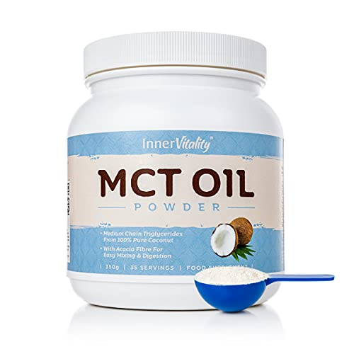 MCT Oil Powder with Prebiotic Fibre - Easy to Mix & Digest Premium Keto Supplement with 35 Servings, 350g - 70% C8 Coconut MCTs by Inner Vitality