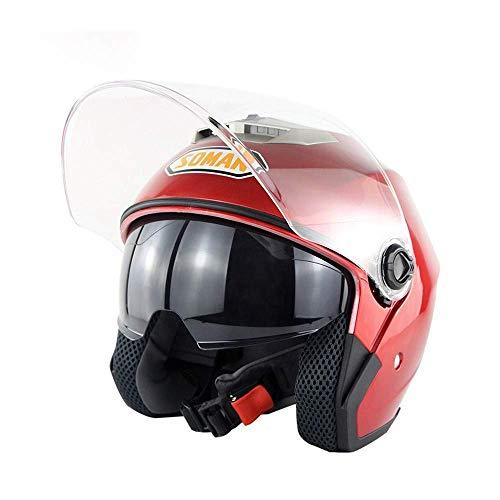 Motocicletas, vehículos eléctricos, cascos de doble espejo, cascos de personalidad masculina y femenina, cascos de verano, cascos de cuatro estaciones anti-UV, color rojo - M
