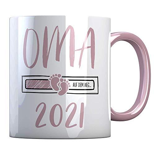 Tassenbude Kaffee-Tasse Oma 2021 loading Geschenk-Idee für werdende Oma Schwangerschaft Geburt Baby beidseitig bedruckt rosa spülmaschinenfest omi 21