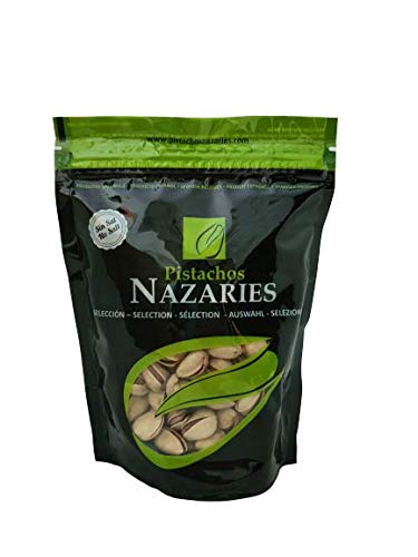 Pistacchi Nazaries - Pistacchi spagnoli di alta qualità, accuratamente selezionati e arrosto senza sale. Molto croccante. (Pacchetto di 4 borse di 250 g ciascuno).
