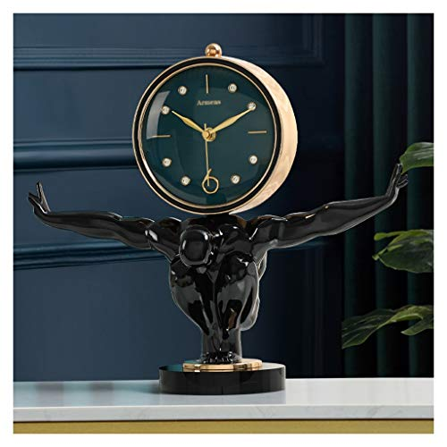 Reloj de Mesa de Metal Base de Cristal Negro Sala de Estar Decoración de Mesa Reloj de Vino Adornos de Vino Caracteres nórdicos Tabla pequeña Reloj (Color : A)