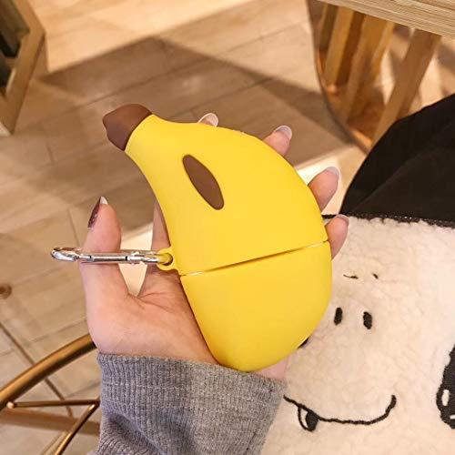 SevenPanda Obst Airpods Pro Hülle, 3D Niedlicher Cartoon Airpods Pro Hülle Weiches Silikon Kopfhörer Cases, AirPods Pro Hülle Silikon Schutzhülle für Apple Airpods Pro 2019 Case (Banane)