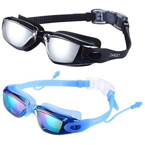 DARIDO Swim Goggles,Swimming Goggles Anti Fog UV Protection No Leaking,Best Clear Vision Competition Training Triathlon Swim Goggles of 2 Pack for Adult,Men,Women,Youth,Kids