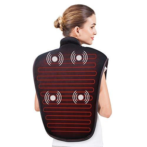 Snailax Almohadilla Térmica para Cuello y Hombros - Masajeador eléctrico con Calentamiento rápido y 5 modos de masaje por vibración, para aliviar el dolor crónico