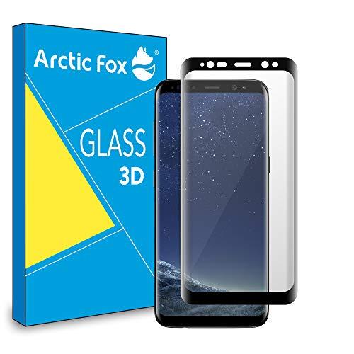 Arctic Fox 1 x Protector de pantalla de cristal templado 3D Curvo Screen Protector Glass HD Anti arañazos para Samsung Galaxy S8 Plus Negro