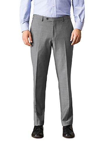 Walbusch Herren Traveller Anzug Hose einfarbig Mittelgrau 60