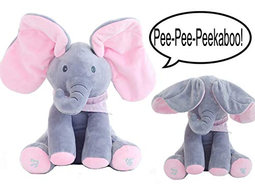 Plush toy peek-a-boo Elephant, OMGOD hide-and-seek game Baby Animated Plush Elephant Doll - Pink