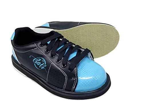 SaVi - Zapatos de Bolos clásicos para Mujer, Color Azul Claro y Negro, con Cordones y Suelas universales para Bolos diestros o Zurdos, Desde Principiantes a Profesionales, Azul, 7 US