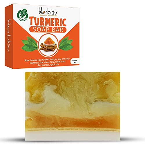 Organic Turmeric Soap Bar | Pure Natural Handcrafted Skincare, Made in USA Face & Body Cleanser with Calendula, Aloe Vera, French Clay | Brightens Skin, Evens Tone, Fades Scars, Sun Damage, Age Spots