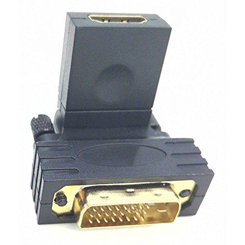 zdyCGTime giratorio Twist ángulo 360 Degree rotación chapado en oro DVI-I Dual-Link 24 + 1 macho a HDMI hembra adaptador (negro)