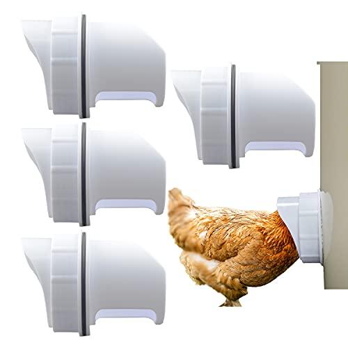 DIY Chicken Feeder Port Rain Proof Poultry Feeder Gravity Feed Kit Suitable for Buckets, Barrels, Bins, Troughs