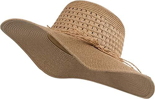 styleBREAKER Damen Großer Sonnenhut mit dünnem Hutband und Schleife, Strohhut, Schlapphut, Sommerhut, Hut 04025024, Farbe:Braun