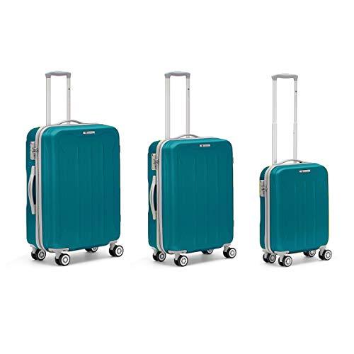 R Roncato Set 3 Trolley Rigidi Ultraleggeri (Taglia L+M+S) Serie Flight in ABS 100%, Colore Azzurro, 76 cm