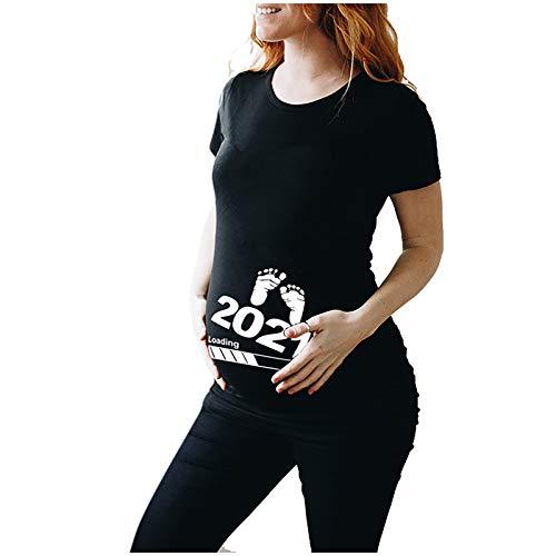 Goosuny Umstandsshirt Damen Kurzarm mit Motiv Umstandsmode Freizeit Große Größen Schwangerschaft Kleidung Umstands Tops Stillshirt Schwanger T-Shirt Tops Sommer Oberteil