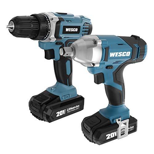 WESCO 20V Cordless Impact Wrench, 20V Cordless Drill Driver Combo Kit, 2-Tool