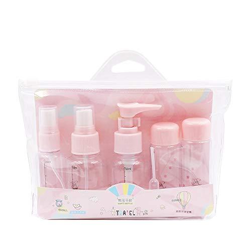 N/A Juego de 7 botellas vacías de viaje recargables para champú loción acondicionador gel de ducha, color rosa crema