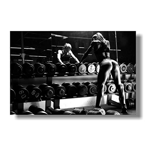 NRRTBWDHL Bodybuilding Motivation Kunst Seide PosterFitness Übung Wandbilder Fitnessraum Druck auf Leinwand-60x90cm Kein Rahmen