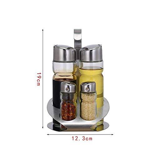 Tarro de vidrio Conjunto de estante de especias de mesa de comedor, salsa de soja, olla, salsa de chile, conjunto de botella de palillo de dientes, conjunto de botella de polvo de cuatro piezas