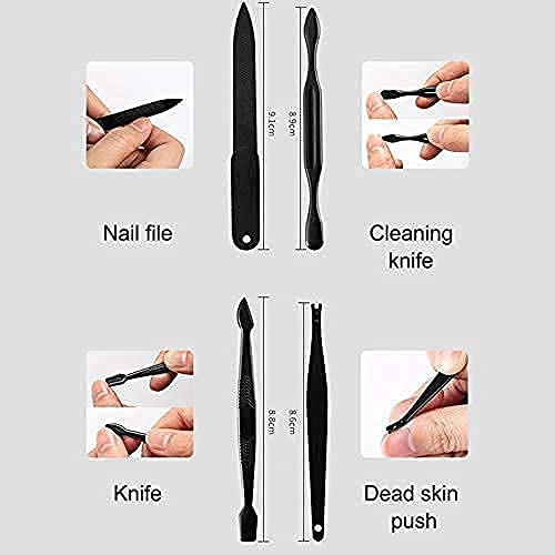 GION Pedicure Manicure Kit    Nail Cutter Clipper Set    12 in 1 Stainless Steel Grooming Kit    Nail Cutter, Scissor, Eyebrow Tweezer Beauty Care Tools With Case For Men & Women