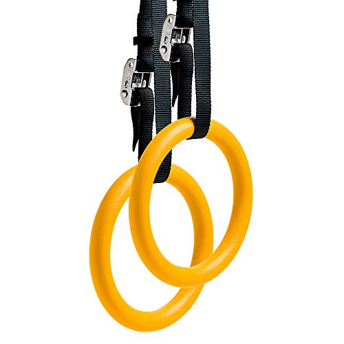 REEHUT Gymnastic Rings (2 Pcs, 4.5m long) Home Gym Set with Adjustable Straps, Metal Buckles & Ebook - Non-Slip - Great for Workout, Strength Training, Fitness, Pull-Ups, and Dips(Yellow)
