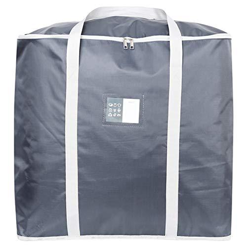EMFGJ Bolsas grandes de almacenamiento de ropa con cremalleras Oxford tela bolsa de almacenamiento gruesa duradera para ropa de cama, mantas, color gris L