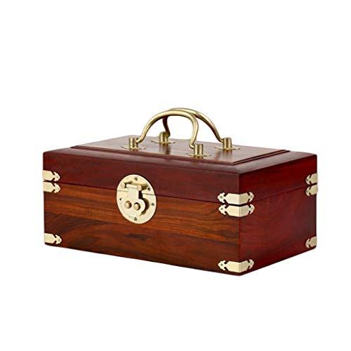 caja organizadora de joyas Joyas de marca del cuadro con la caja de joyería de madera Bloqueo de la vendimia de la pulsera del pendiente del collar de la caja de almacenaje Organizador organizador de