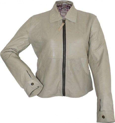Damen Lederjacke Trend Fashion Echtleder Jacke aus Lamm Nappa Leder beige, Größe:34