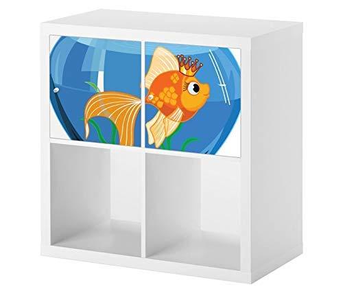 Möbelaufkleber für Ikea KALLAX / 2x Türelemente Kinderzimmer Cartoon Fisch Goldfisch Kat2 Aquarium Wasser blau KL2 Aufkleber Möbelfolie Tür sticker (Ohne Möbel) 25E2583