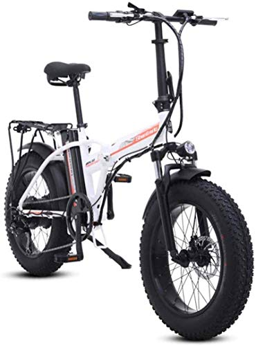 RDJM Ebikes Fast Electric Bikes for Adults 20 inch Snow Electric Bike Removable Lithium-Ion Battery 500W Urban Commuter 7 Speed Ebike for Adults 48V 15Ah Lithium Battery (Color : White)