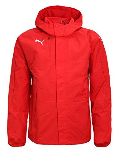 PUMA Mens Rain Jacket Veloce Windbreaker Hooded Raincoat Sports Jacket 654640 (Large) Red/White