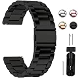 Fullmosa Quick Release Watch band, Stainless Steel Watch strap 16mm, 18mm, 20mm, 22mm or 24mm, 18mm Black