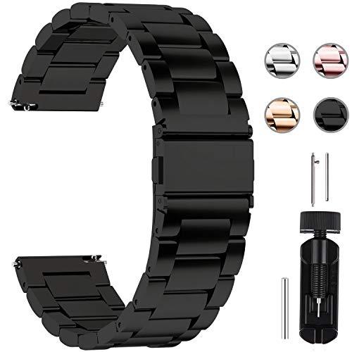 Fullmosa Edelstahlarmband für Uhr,Metall Uhrenarmbänder mit Schnellverschluss geeignet für Damen&Herren, 24mm Schwarz