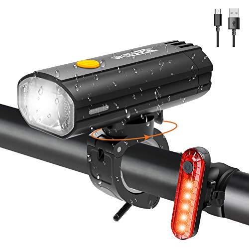 Juego de Luz para Bicicleta LED Recargable, Luz Bicicleta Trasera y Delantera, Lámpara Bicicleta IPX5 Resistente con 4 Modes, Linterna Bicicleta con 450 lúmenes,4000mAh, Certificación StVZO,CE,ROSH