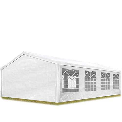 TOOLPORT Partyzelt Pavillon 5x8 m in weiß 180 g/m² PE Plane Wasserdicht UV Schutz Festzelt Gartenzelt